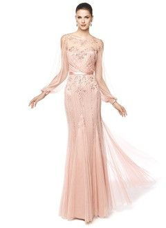 Trumpet/Mermaid Scoop Neck Floor-Length Satin Tulle Evening Dress With Beading Appliques Lace