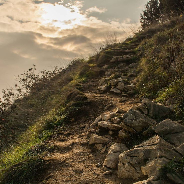 Sentiero che sale alla Rocca di Manerba. Lago di Garda.