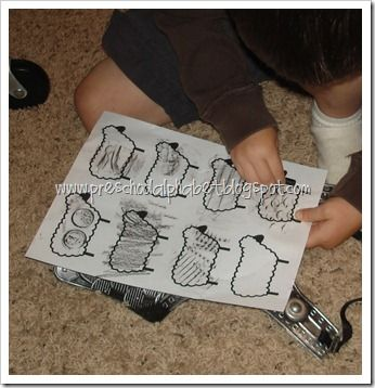Baa baa black sheep activities- filling three bags game and texture activity