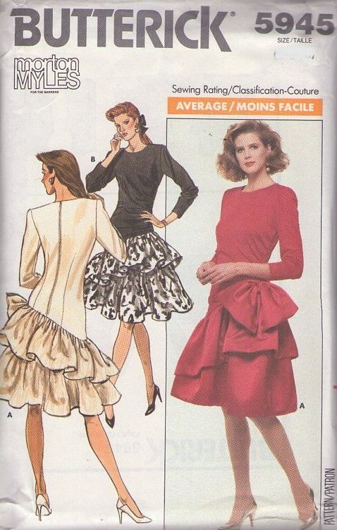 MOMSPatterns Vintage Sewing Patterns - Butterick 5945 Vintage 80's Sewing Pattern MARVELOUS Designer Morton Myles Dropped Asymmetric Waist Double Tier