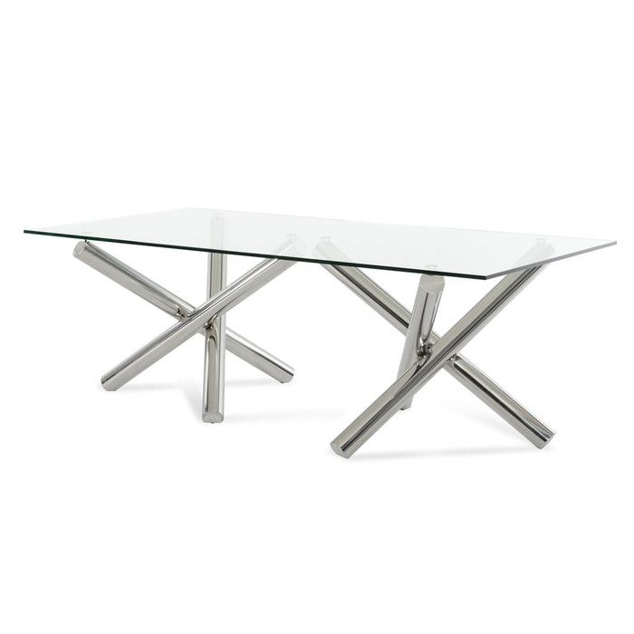 Set Includes: One Dining Table Transparent Glass Table Top Rectangular  Stainless Steel Base Dining Chair (Available Separately) Product  Dimensions: Table: ...