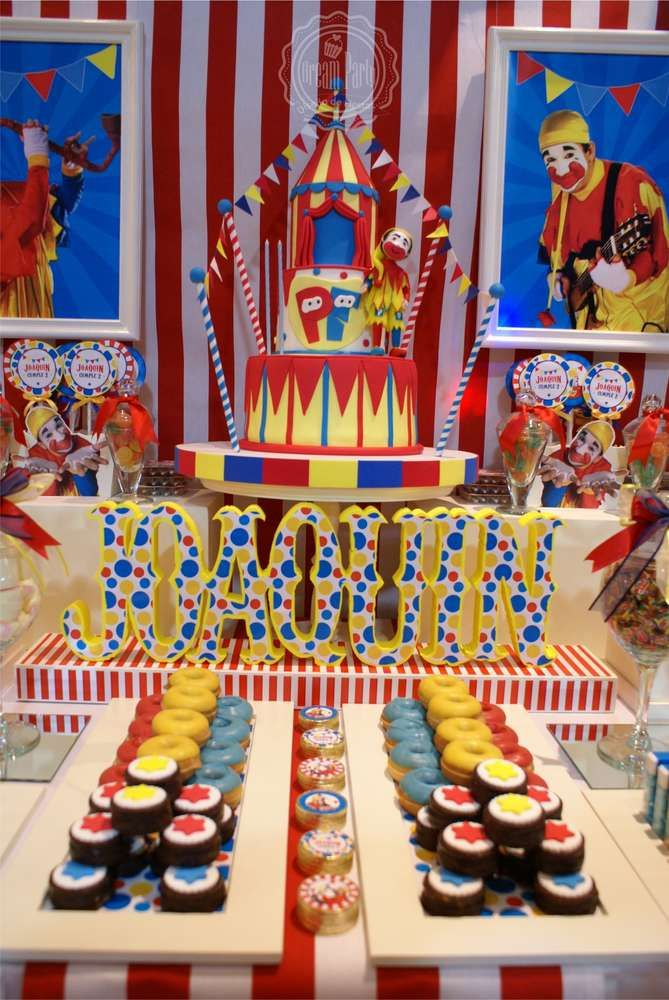 Amazing circus birthday party dessert table! See more party ideas at CatchMyParty.com!