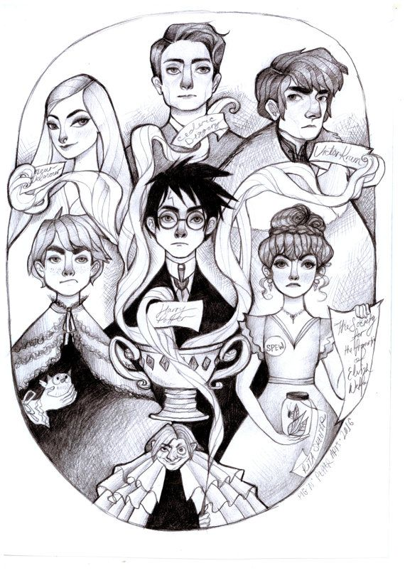 Harry Potter and the Goblet of Fire, High Quality Satin Art Print Pencil Drawing Illustration Wall Art...…  by PigandPepperArts  in Melbourne, Australia