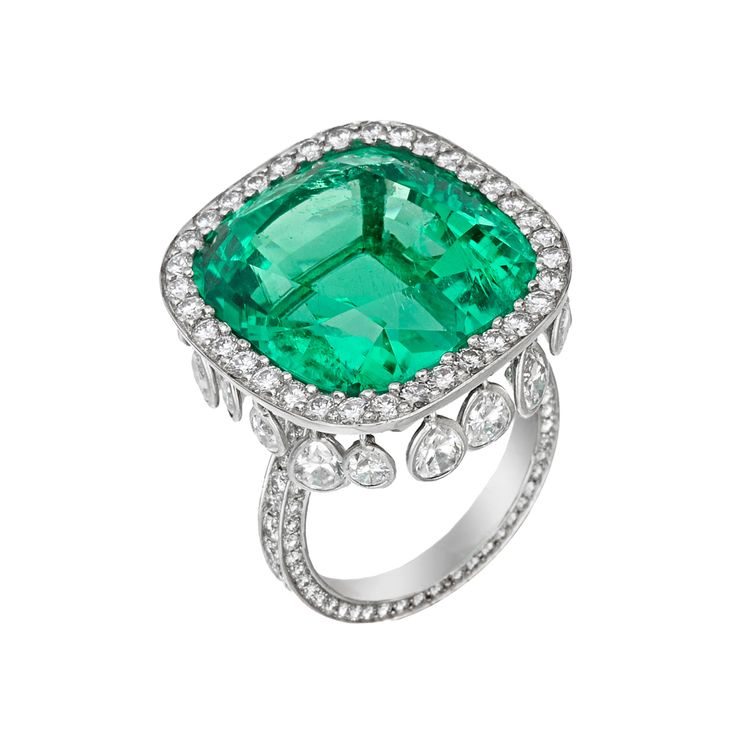 Estate Betteridge Collection Emerald & Diamond Chandelier Ring