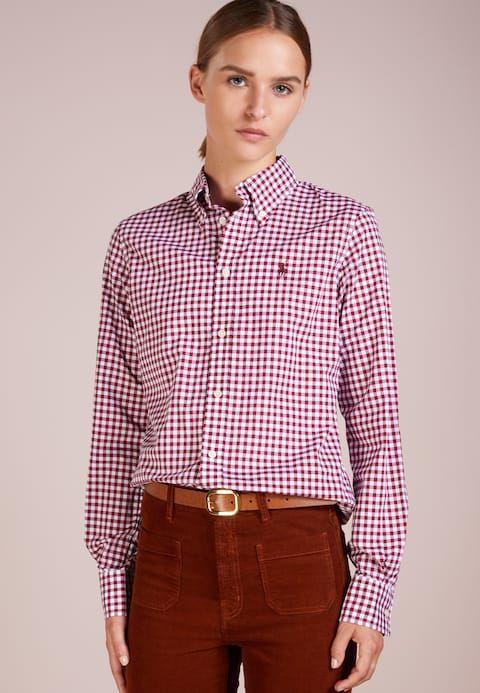 Fit Mujeres En Women's Slim Gingham Burgundywhite Shirt w7zWqg