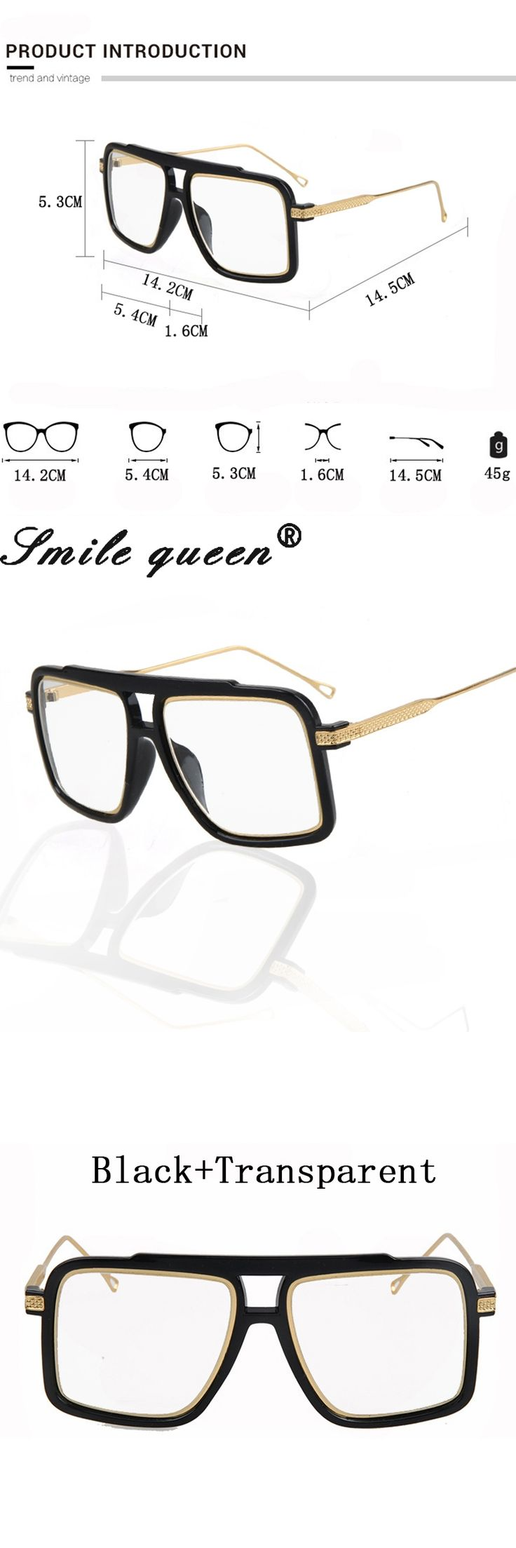 Square Flat Top Glasses Frame Famous Brand Designer Glasses Men 18K Gold Metal Frame Mirror Clear Glasses Lentes Opticos Mujer