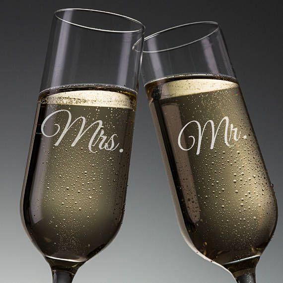 Juego de 2 Sr. Sra. boda tostado flautas copas de Champagne