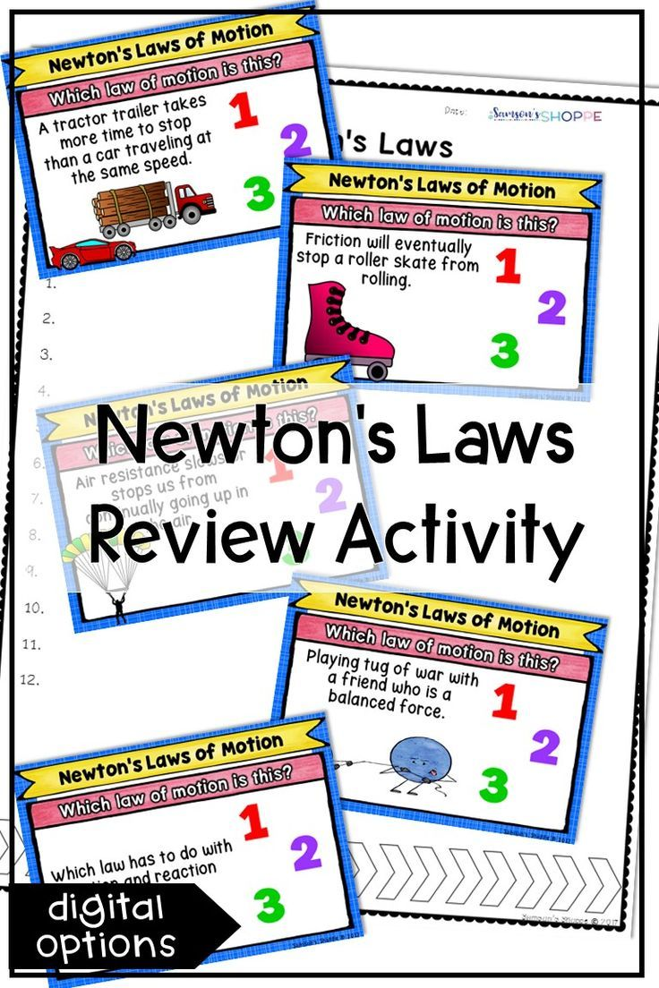 Force and motion review activity newtons laws of motion