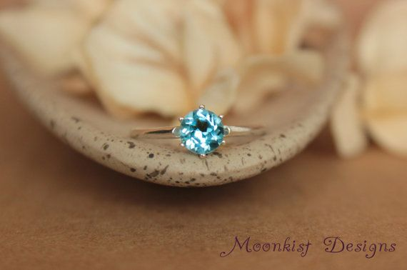 Blue Topaz Vintage-style Tiffany Solitaire in by moonkistdesigns