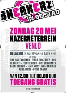 Terug van even weggeweest: de gratis toegankelijke 'Sneakerz in de Stad' feesten, dit jaar in vier Brabantse stadscentra. De eerste staat zondag 20 mei op het programma, van 12:00 tot 24:00 uur op het kazerneterrein in Venlo. Vaste muzikale waarde is DJ/MC-duo 'Gelazer!', bestaande uit Shagspeare en Lady Bee, dat open huis houdt.