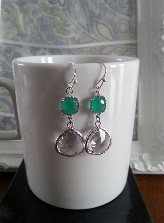 Gold Plated Green and Clear Dangle Earrings