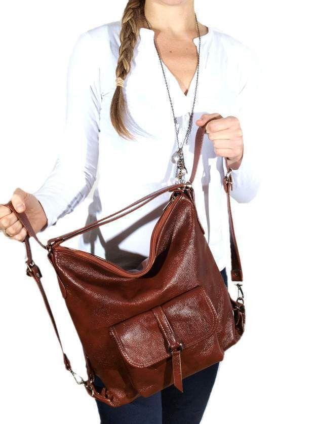 Schultertaschen - RUCKSACK Leder-Umhängetasche aus braunem Leder A4 - ein Designerstück von SklepVessna bei DaWanda