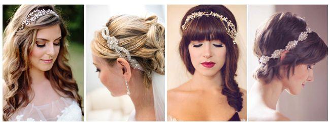 Acconciature e headband: capelli sciolti foto di Almond Leaf Studio, capelli raccolti foto di Pinterest, frangetta e treccia foto di Nicole Photography, capelli corti foto di Pinterest