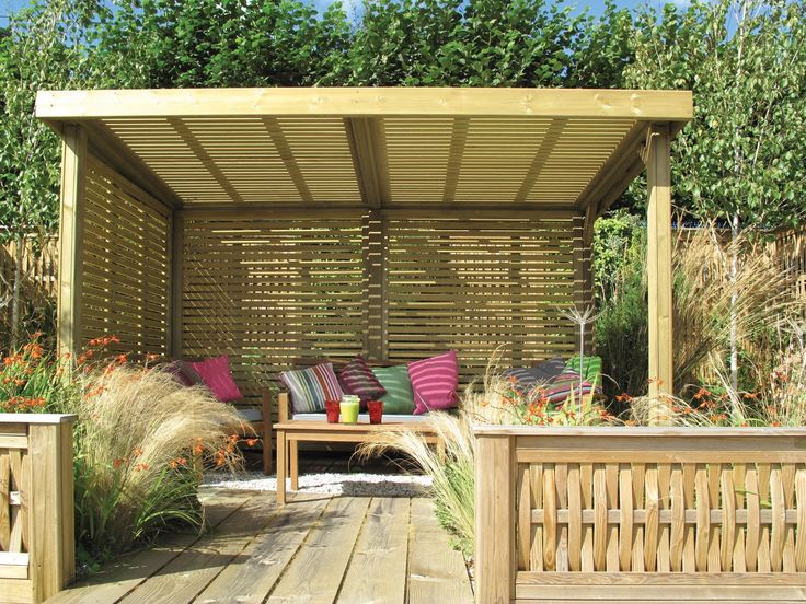 The Retreat Garden Shelter has been designed using Jacksons popular Venetian Panels for the sides and roof that give the shelter an attractive contemporary look #garden #shelter #contemporary #design