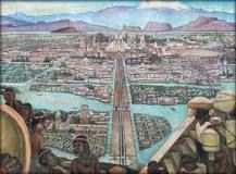 Tenochtitlan was an Aztec capital city founded in 1325. It was located on an island in Lake Texcoco, which today is in the downtown of Mexico City. Tenochtitlan was approximately 5.2 square miles in size, connected by causeways to the mainland.