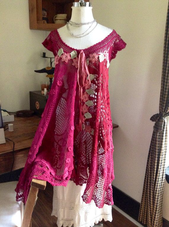 Luv Lucy crochet dress Lucy's Raspberries and by LuvLucyArtToWear, $210.00