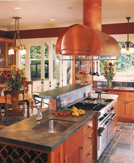 Kitchen Island Accessories: Brushed Copper Hood Fan