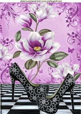 BLACK DIAMOND SHOES WITH LILAC MAGNOLIAS A4 on Craftsuprint - Add To Basket!