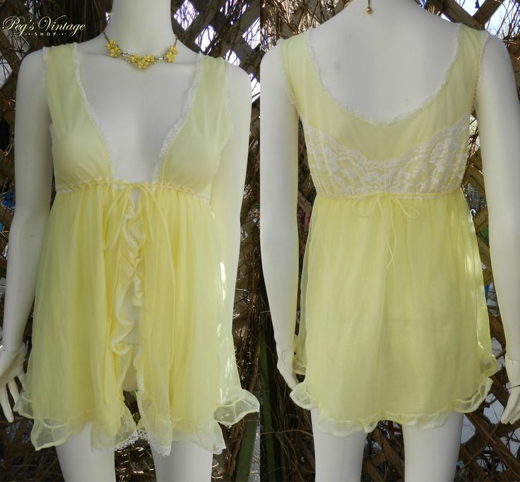 Vintage Evette 60s Yellow Nightie, Sheer Baby doll Naughty Yellow Satin Chiffon Lingerie, Short Negligee / Retro Petite Size Small Lingerie by PegsVintageShop on Etsy