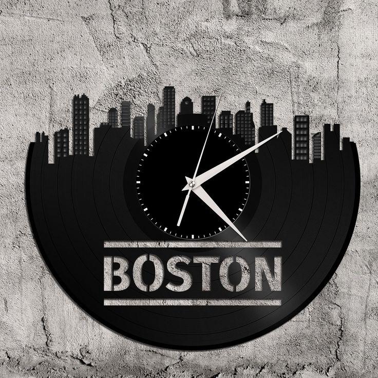 Boston Skyline - Trendy Clock, Boston Wall Art, Trendy Wall Art, Trendy Art, Boston Art, Dorm Decor, Gift for Traveler, Friend, Birthday by VinylShopUS on Etsy