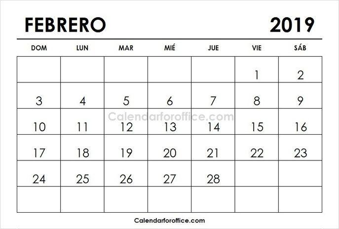 February Calendar 2019 In Spanish February 2019 Calendar Spanish | 2019 Calendar | 2019 calendar