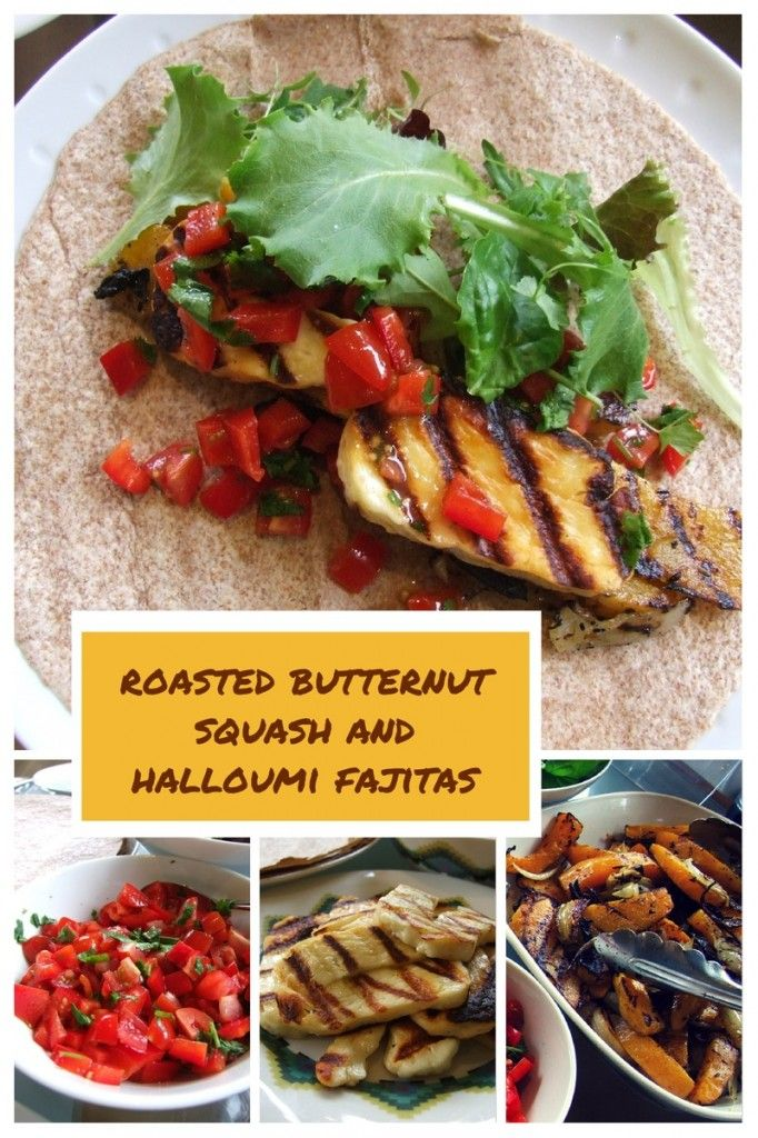 spice-roasted butternut squash & halloumi fajitas - #vegetarian #recipe