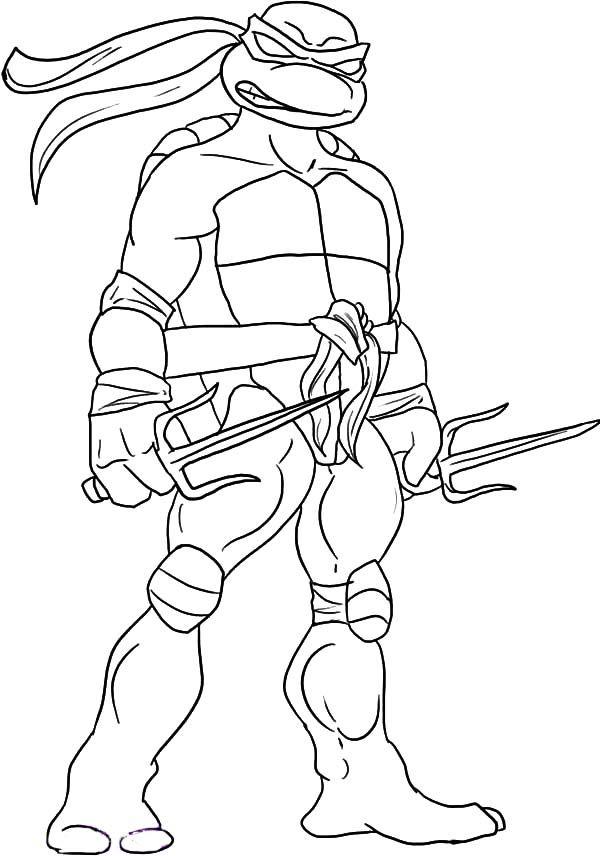 teenage mutant ninja turtles sai is raphael weapon of choice coloring page