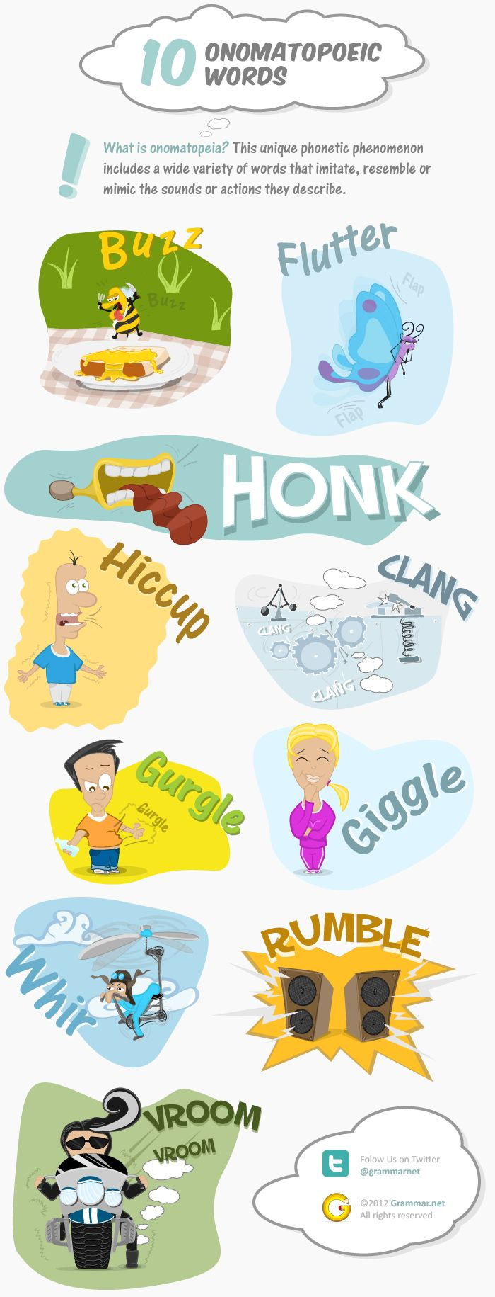 Aprende inglés: 10 onomatopeyas #infografia #infographic #education