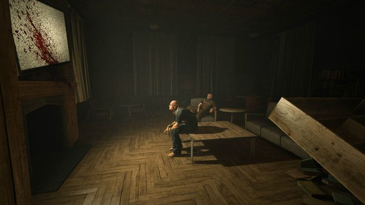 Outlast horror game, psychological horror, survival suspense gaming, creepy abandoned indoors