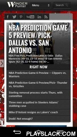Sport Free Picks & Predicitons  Android App - playslack.com , MLB, NBA, NHL, Soccer, NFL and NCAA College Football betting Picks and Odds live lines, latest predictions, previews and sports book guides and articles, Updated standings and scores daily Unlike other apps we write expert picks no computer generated code and have one of the highest success rates online, best of all it's free!