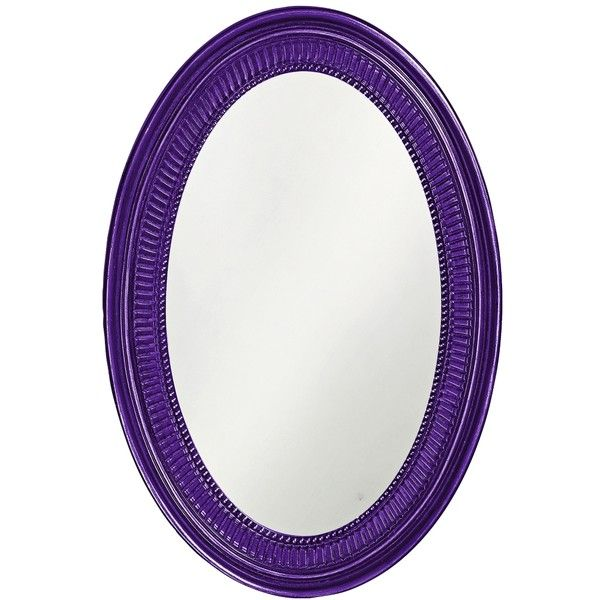 """Howard Elliott Ethan 21"""" x31"""" Royal Purple Wall Mirror ($200) ❤ liked on Polyvore featuring home, home decor, mirrors, purple, purple home accessories, oval wall mirror, howard elliott mirror, oval mirror and purple mirror"""