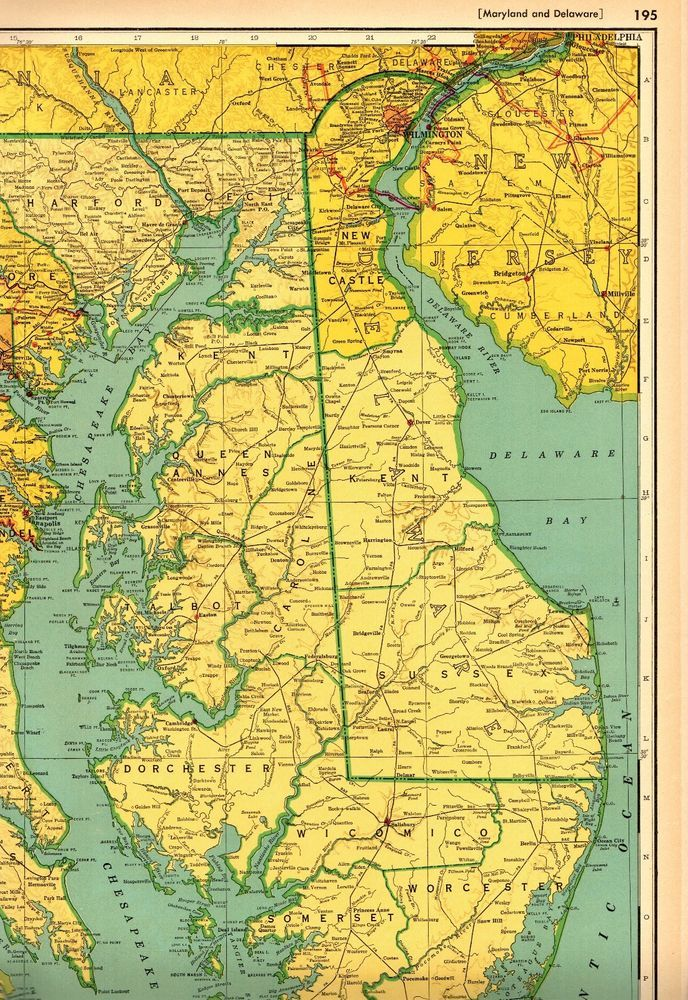 1949 Antique MARYLAND Map & DELAWARE Map w RAILROADS Rare Poster ...