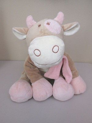 Noukies Plush tan & pink Lola cow, very soft plush, pink chenille scarf #babyshower #lovey