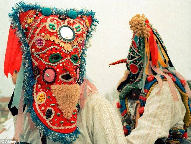 One of the 'kukeri' believed to drive away evil spirits. bulgarian folk mask