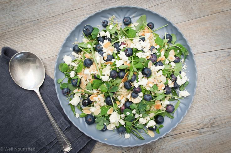 Blueberry, Rocket and Almond Salad - a delicious, easy to prepare salad including tips for encouraging toddlers and children to eat and enjoy leafy greens.