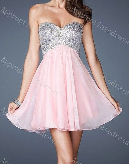 Cheap Online Pink ALine Sparkly Short Prom by Appropriatedress