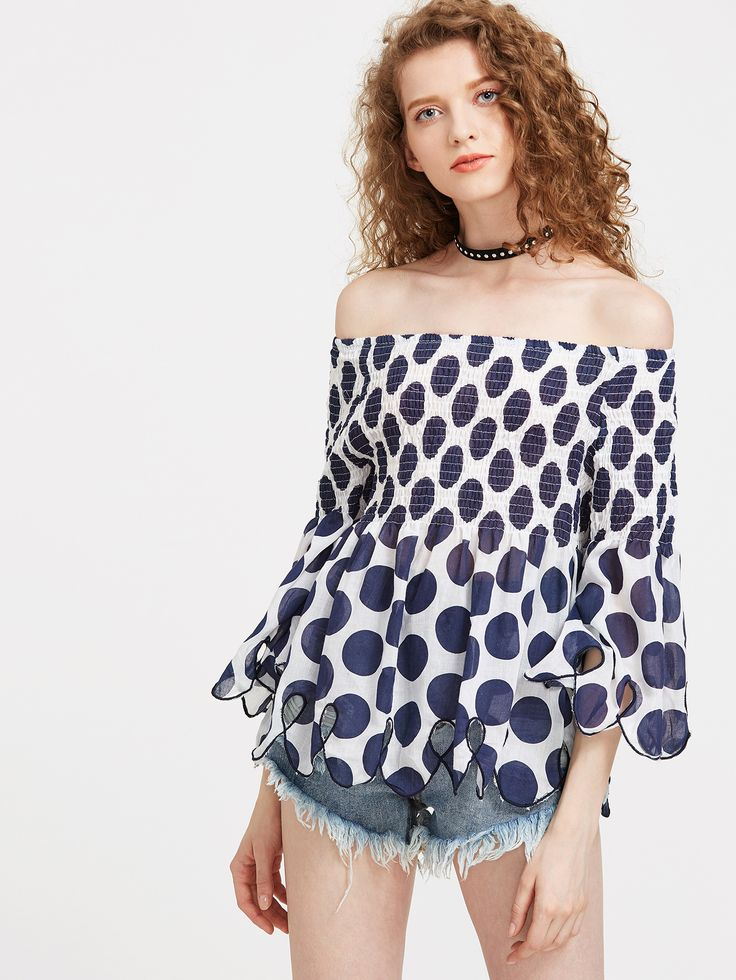 Shop Polka Dot Scallop Hem Bardot Top online. SheIn offers Polka Dot Scallop Hem Bardot Top & more to fit your fashionable needs.