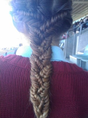 Three fishtail braids braided into one. Shoot. I need some long hair.