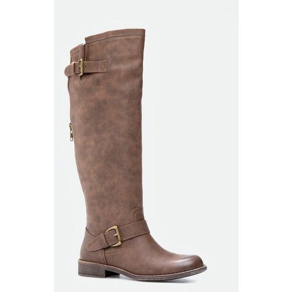 Justfab Flat Boots Letoya ($40) ❤ liked on Polyvore featuring shoes, boots, brown, flat brown knee high boots, brown boots, flat riding boots, flat knee high boots and brown knee high boots