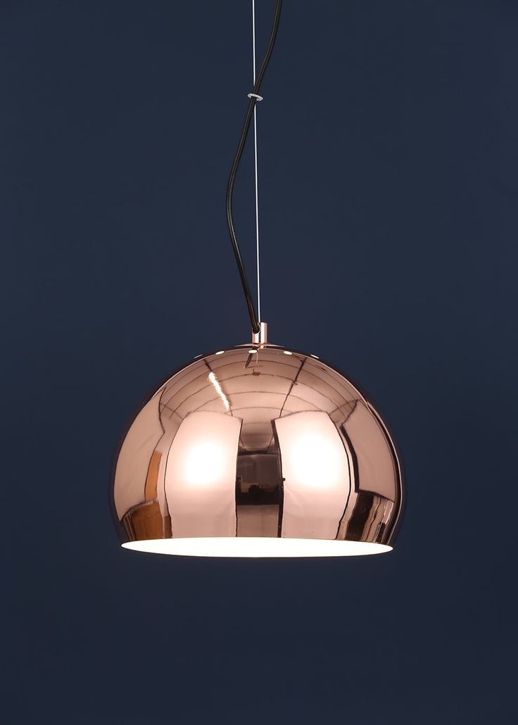 Luna copper ball pendant light h130cm 120cm x w42cm
