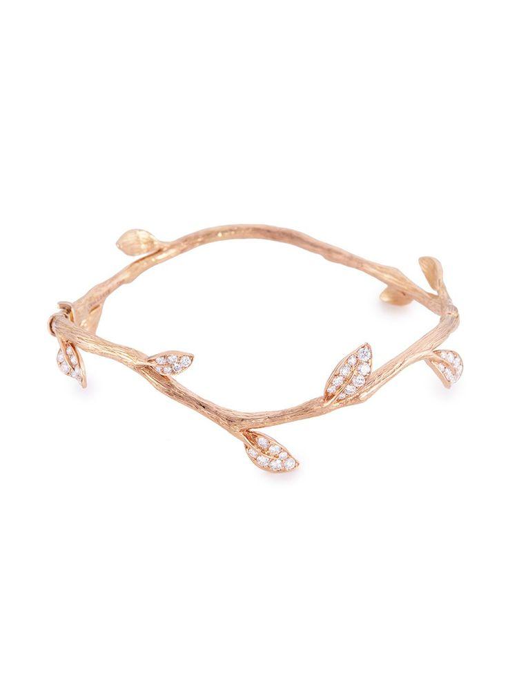 ANYALLERIE 'ENTWINED' DIAMOND 18K ROSE GOLD BRANCH BANGLE #rosegold #18k #goldbangle #finejewelry #jewelry