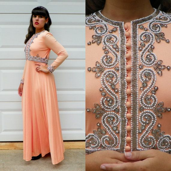 1960s Vintage Formal Peach Maxi Dress Beaded by Enchantedfuture