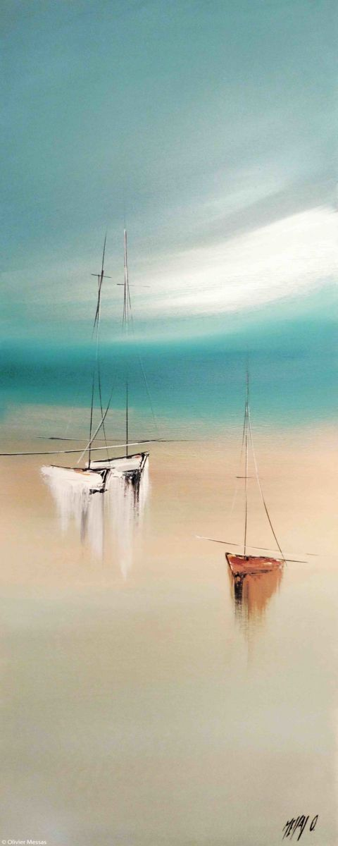 Sérénité III - Painting,  40x2x100 cm ©2015 by Olivier Messas -                                                                        Contemporary painting, Canvas, Boat, Sailboat, segler, sail, sailing, mer, sea, voile, voi