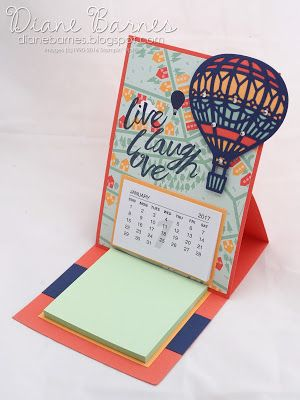 easel post-it calendar using Stampin Up Lift Me Up - Up & Away bundle, Layering Love, & Balloon Adventures stamps. By Di Barnes #colourmehappy 2017 Occasions Catalogue