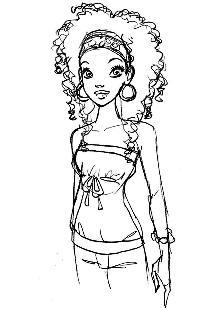Barbie hair coloring games - Barbie Coloring Pages Black Or Ethnic Barbie Coloring Sheet