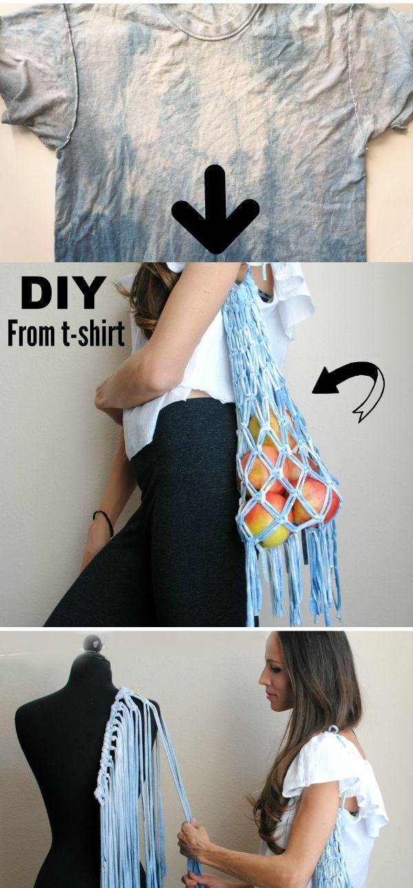 DIY: Turn an old t-shirt into this macrame market bag!