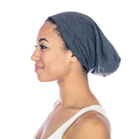 Sleep Routine For Hair Satin Lined Cap Gray Slouchy