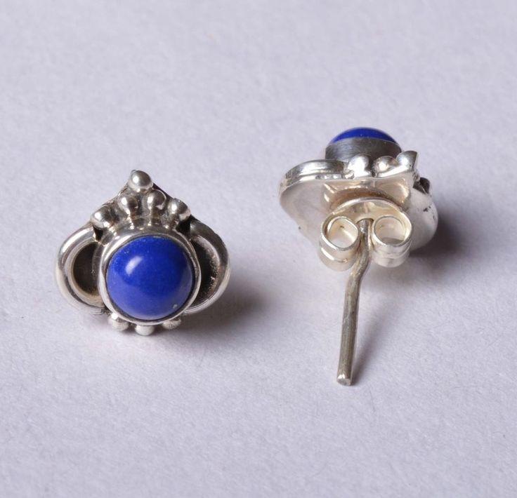 925 Solid Sterling Silver Stud Natural Lapis Lazuli Gemstone 1.8 CM JSS-48 #JaipurSilver