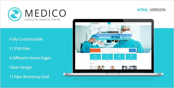 Medico -Medical & Health HTML5 Template   Created: 15September13 LastUpdate: 18September13 Columns: 4+ CompatibleBrowsers: IE8 #IE9 #IE10 #Firefox #Safari #Opera #Chrome Documentation: WellDocumented HighResolution: No Layout: Responsive ThemeForestFilesIncluded: LayeredPSD #HTMLFiles #CSSFiles #JSFiles Tags: appointment #clinic #dentist #doctor #health #healthcare #hospital #hospitality #laboratory #medical #medicine #patient #pharmacy #stomatology #wellness #themeforest
