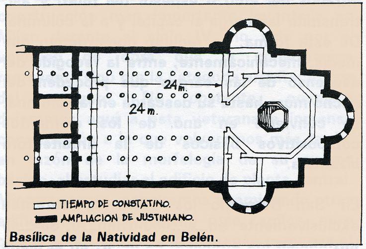 Planta de la iglesia de la Natividad (Belén), S.IV. Construida sobre el portal de Belén. Se sigue el modelo occidental accediéndose a ella por un gran atrio a 5 naves que conducían a un cuerpo octogonal cubierto con una cúpula donde supuestamente nació Jesús. En este se erigió un martyrium.-10